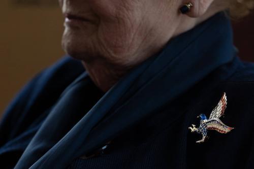 Decorative pin on Albright's jacket